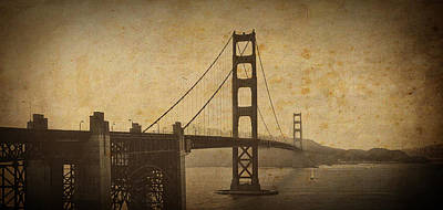Bay Area Digital Art - Vintage Grunge Golden Gate by Sean Gillespie