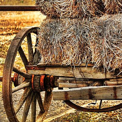 Vintage Hay Wagon Art Print by Bonnie Bruno