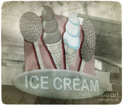 Photograph - Vintage Ice Cream Sign by Jim And Emily Bush