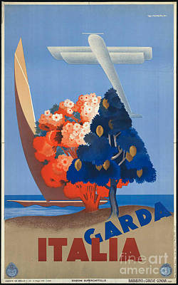 Photograph - Vintage Italia Travel Poster by George Pedro