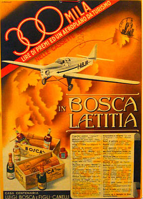 Italian Wine Drawing - Vintage Italian Advertising Carton Plane 1930s by Egala