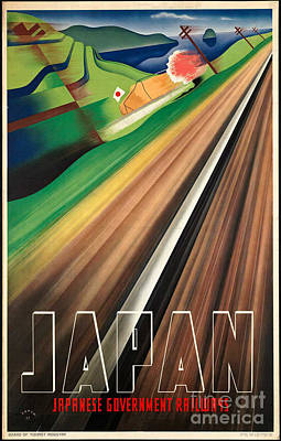 Photograph - Vintage Japanese Government Railways Poster by George Pedro