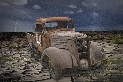 Vintage Junk Auto In The Rain Print by Randall Nyhof