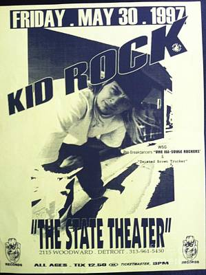 Country Schools Mixed Media - Vintage Kid Rock Flyer by J S
