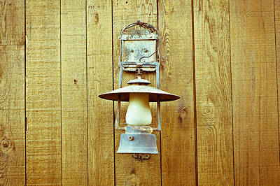 Old Miner Photograph - Vintage Lamp by Tom Gowanlock