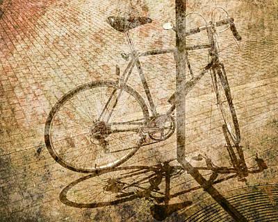 Vintage Looking Bicycle On Brick Pavement Print by Randall Nyhof