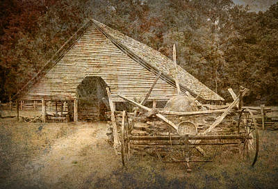 Split Rail Fence Photograph - Vintage Looking Old Barn In The Great Smokey Mountains by Randall Nyhof