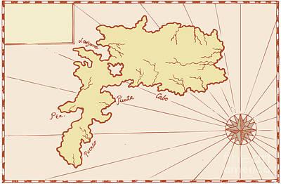 Vintage Map Of Island Art Print by Aloysius Patrimonio
