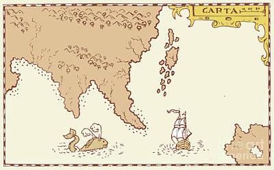 Vintage Map Treasure Island Tall Ship Whale Art Print by Aloysius Patrimonio