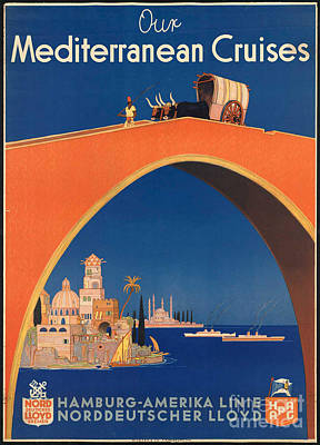 Photograph - Vintage Mediterranean Travel Poster by George Pedro