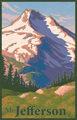 Pacific Digital Art - Vintage Mount Jefferson Travel Poster by Mitch Frey
