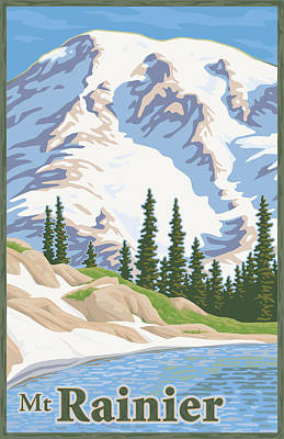 Washington Wall Art - Digital Art - Vintage Mount Rainier Travel Poster by Mitch Frey
