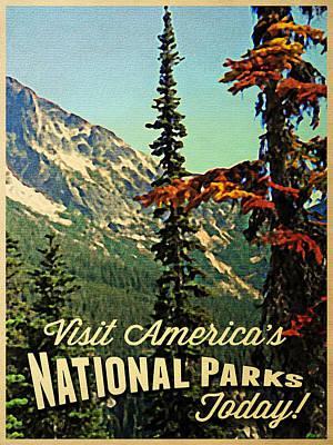 Tourism Digital Art - Vintage National Parks by Flo Karp