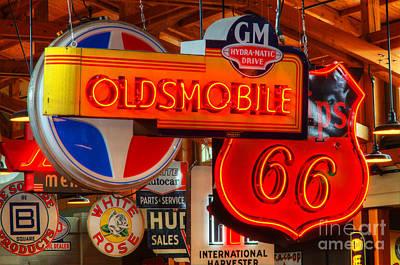 Vintage Neon Sign Oldsmobile Art Print by Bob Christopher