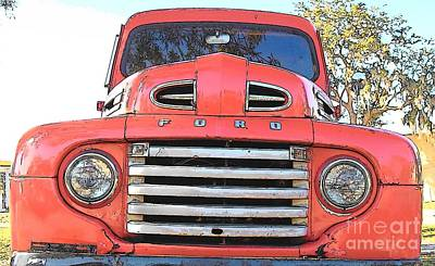 Antique Ford Truck Grill Photograph - Vintage Pick Up Truck by Rebecca Brittain
