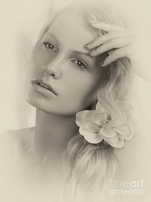 Vintage Portrait Of A Beautiful Young Woman Art Print