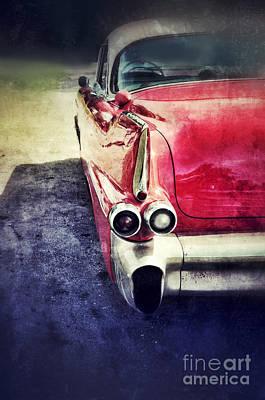 Vintage Red Car Print by Jill Battaglia