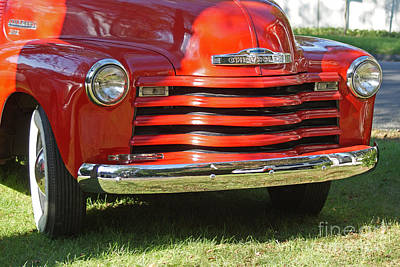 Photograph - Vintage Red Chevy Truck by Margie Avellino