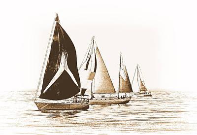 Water Vessels Mixed Media - Vintage Regatta by Maria Dryfhout