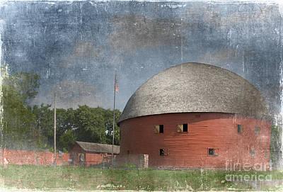 Destinations Digital Art Digital Art - Vintage Round Barn by Betty LaRue