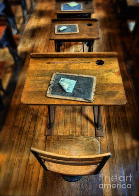 Vintage School Desks Art Print by Jill Battaglia