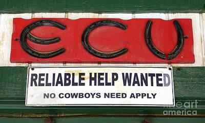 Vintage Sign For Cowboys Art Print by Bob Christopher
