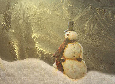 Digital Art - Vintage Snowman by Jean Moore