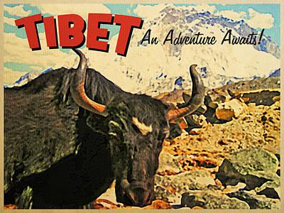 Vintage Tibet Ox Art Print