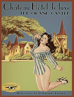 Hotel Digital Art - Vintage Travel Poster The Grand Castle by Cinema Photography