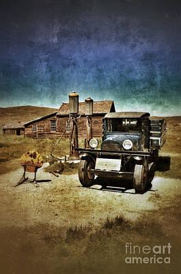 Vintage Vehicle At Vintage Gas Pumps Art Print by Jill Battaglia