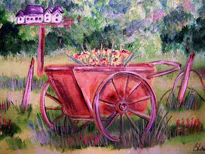 Art Print featuring the painting Vintage Wheel Barrow by Belinda Lawson