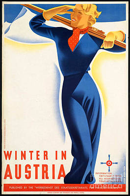 Photograph - Vintage Winter In Austria Travel Poster by George Pedro