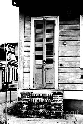 Vintage Wooden Door Brick Stoop French Quarter New Orleans Black And White Conte Crayon Digital Art Art Print by Shawn O'Brien