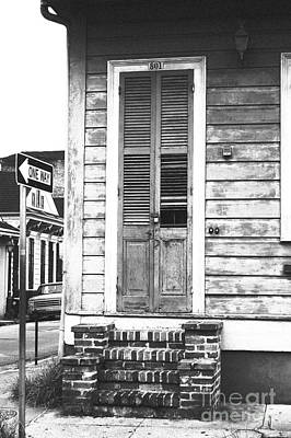 Vintage Wooden Door Brick Stoop French Quarter New Orleans Black And White Film Grain Digital Art Art Print by Shawn O'Brien