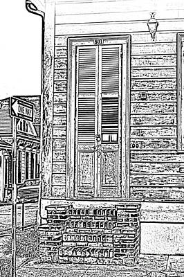 Vintage Wooden Door Brick Stoop French Quarter New Orleans Black And White Photocopy Digital Art Art Print by Shawn O'Brien