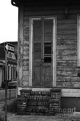 Vintage Wooden Door Brick Stoop French Quarter New Orleans Black And White Poster Edges Digital Art Art Print by Shawn O'Brien