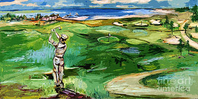 Vintge Golfer By The Sea Art Print by Ginette Callaway