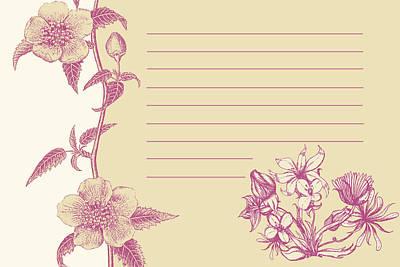 Violet Floral Card Art Print
