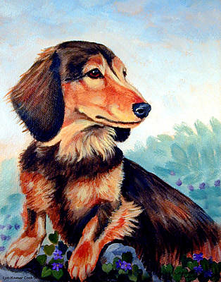 Dachshund Puppy Painting - Violets - Dachshund by Lyn Cook