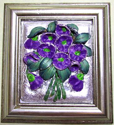 Sculpey Relief - Violets by Luminita Feodoroff