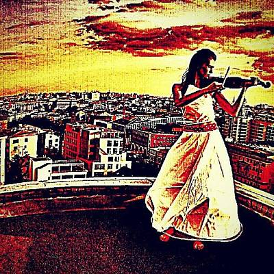 Violin Wall Art - Photograph - #violin #sunset #city #building by Ariel Muttaqin