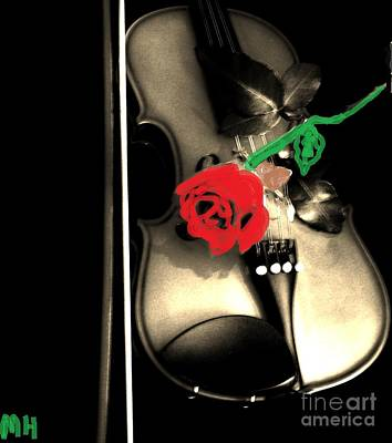 Violin Mixed Media - Violin With A Rose by Marsha Heiken