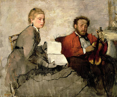 Surprise Painting - Violinist And Young Woman by Edgar Degas