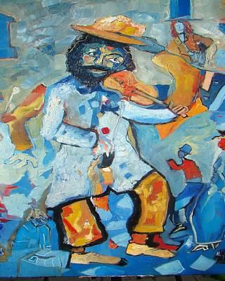 Violine Painting - Violinist In Blue Back by Milan Nikolcin