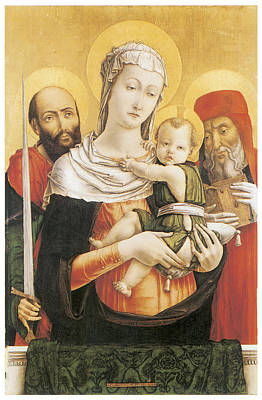 Virgin And Child With Saints Paul And Jerome Art Print by Bartolomeo Vivarini
