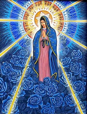 Virgin Of The Blue Roses Art Print by James Roderick