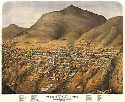 Virginia City Nevada 1875 Art Print by Donna Leach