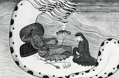Vishnu And Lakshmi Art Print by Photo Researchers