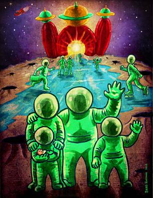 Visit The Moon Art Print by Baird Hoffmire