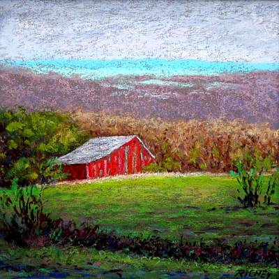 Vista With Red Barn Art Print by Bob Richey